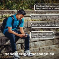Image for sendtherightmessage.ca campaign by the LGBTQ Initiative, about responding in non-harmful ways to LGBTQ folk