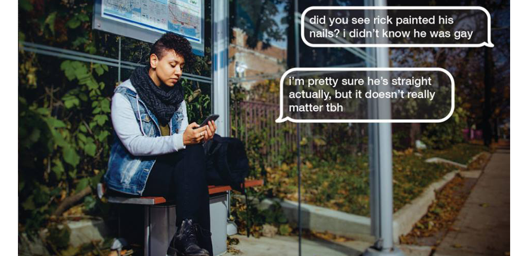 Poster for sendtherightmessage.ca campaign by the LGBTQ Initiative, about responding in non-harmful ways to LGBTQ folk