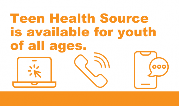 Text says Teen Health Source is available for youth of all ages. Below that are icons for a laptop, a ringing phone, and a smartphone texting.