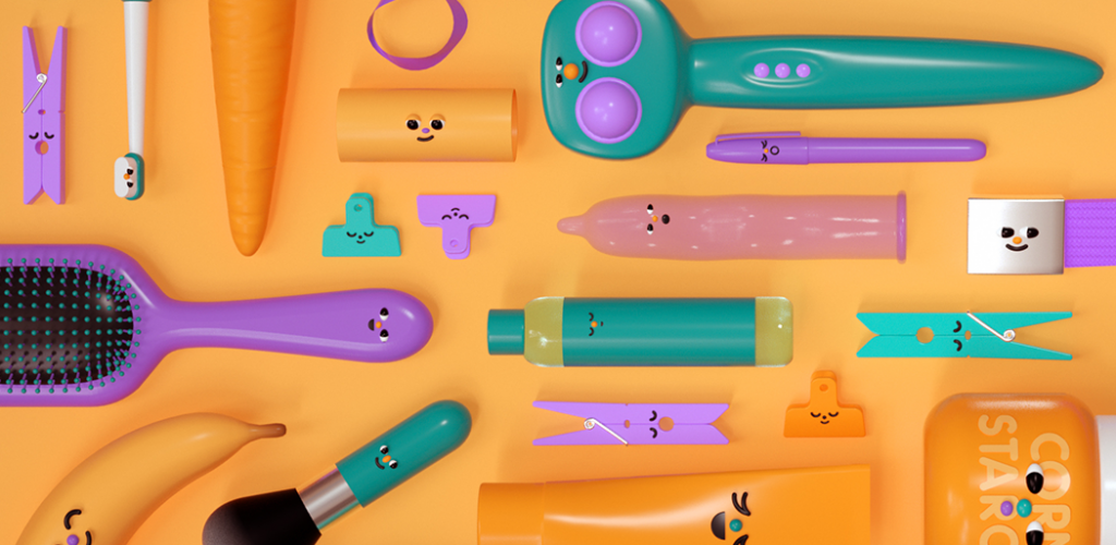 The cover for the DIY Sex Toys resource, features household items (banana, cucumber, hairbrush, toothbrush, etc.) and a bottle of lube and a condom. They all have cute cartoony faces.