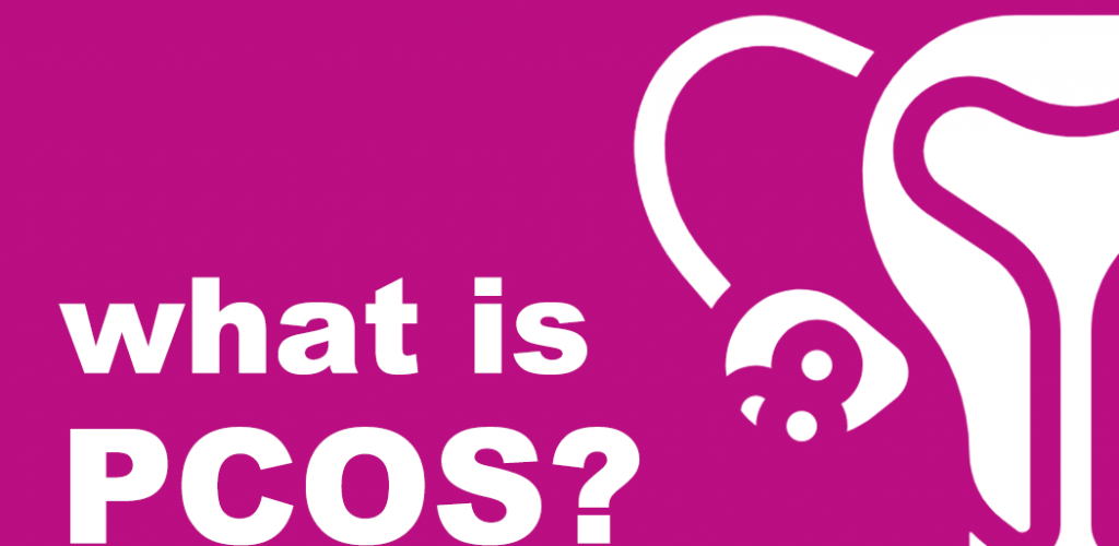 "Text saying ""What is PCOS?"" next to an illustration of half a uterus and the left ovary."
