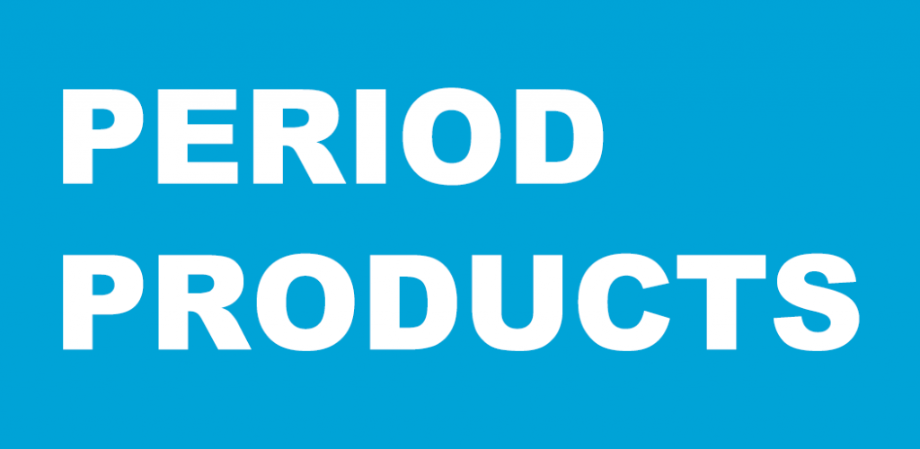 White text on Blue background that reads Period Products